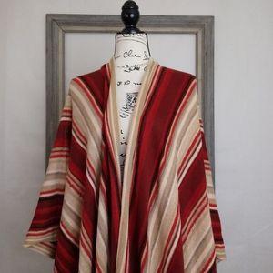 Lauren RL Red Tan Stripe Tassel Wrap Cape OS